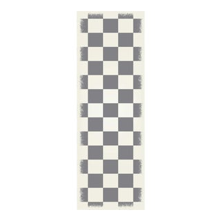 Green & White English Checkered Rug - 2' X 6'