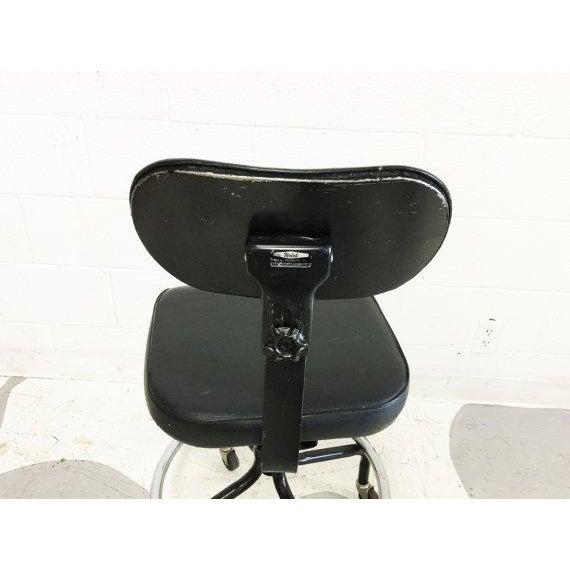 Mid-Century Black Vinyl Industrial Chair - Image 5 of 6
