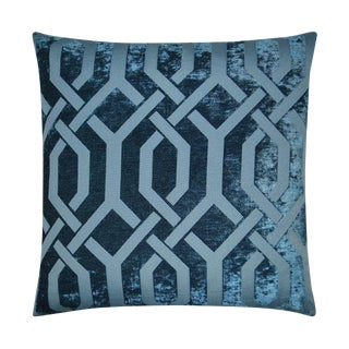 Navy Velvet Trellis Pillow