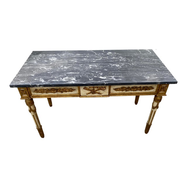 Italian Neoclassical Gilt-Wood Console, Marble Top For Sale