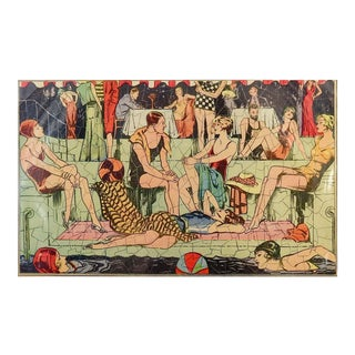 1920's Monte Carlo Poolside Scene Gatsby Guys & Girls Picture Puzzle For Sale