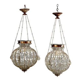 Vintage Spherical Brass and Cut Crystal Chandeliers 20th Century For Sale
