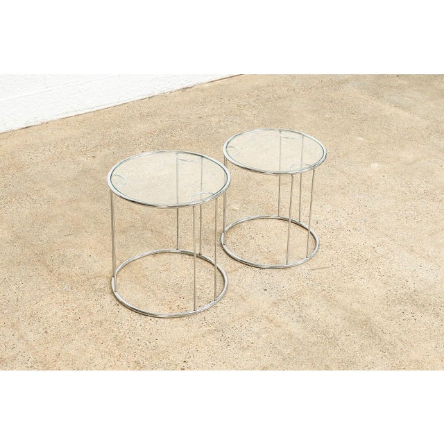 1970s Mid Century Baughman Style Chrome & Glass Nesting Side Tables For Sale - Image 5 of 11