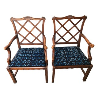 Arm Chair Set of Two W/Indigo Cloth For Sale