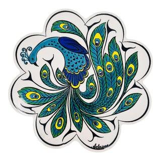Turkish Handmade Large Ceramic Floral Coaster 7'' For Sale