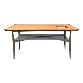 Tall Console/Work Table Made of Tomo Ash Veneer and Architectural Bronze Designed by Studio Sofield For Sale