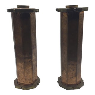 Hammered Copper and Brass Candleholders - a Pair For Sale