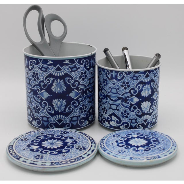 Floral Blue and White Delft Tole Lidded Nesting Canisters - a Pair For Sale - Image 11 of 12