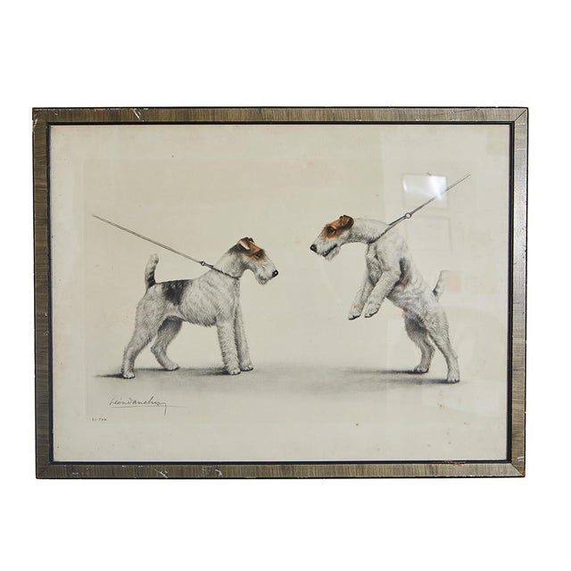 This delightful hand colored print of two dogs will be sure to fit well in a dog lover's home. The print is signed and is...