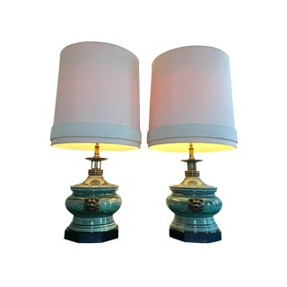 1950s Edwin Cole for Stiffel Chinoiserie Ceramic & Brass Dragon Lamps - a Pair For Sale