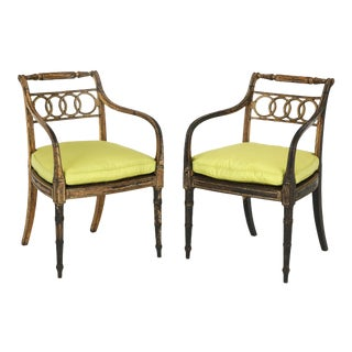 English Regency Painted and Parcel-Gilt Side Chairs - A Pair For Sale