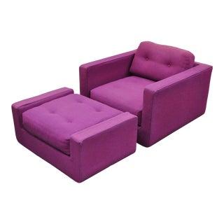 Vintage Mid Century Modern Selig Cube Lounge Arm Chair & Ottoman Baughman Style