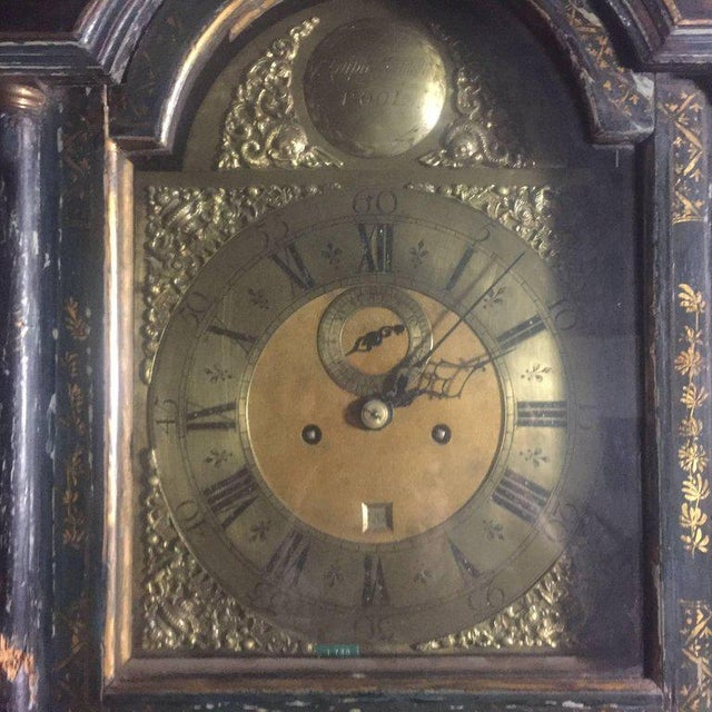 Asian Late 18th Century English Chinoiserie Tall Case Clock For Sale - Image 3 of 11