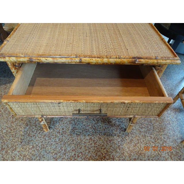 French Pair of Vintage French Bamboo Tables For Sale - Image 3 of 10
