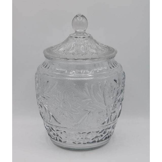 Vintage Mid-Century Crystal Glass Canister Jar With Lid For Sale - Image 6 of 7