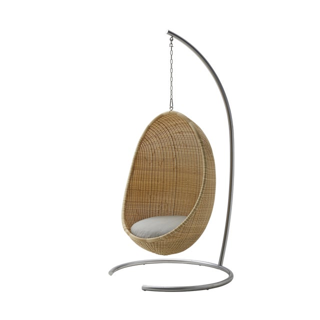 Modern Nanna Ditzel Exterior Hanging Egg Chair - Natural - Sunbrella Sailcloth Seagull Cushion with Stand and Chain For Sale - Image 3 of 3