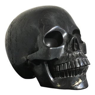 Carved Hematite Momento Mori Skull For Sale