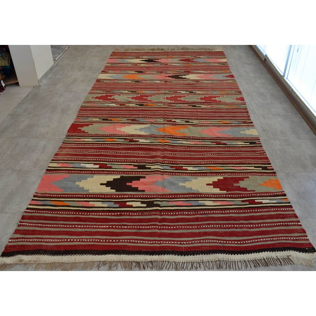 Antique Turkish Kilim Hand Woven Wool Large Runner Rug - 6′5″ × 13′8″ - Image 3 of 10