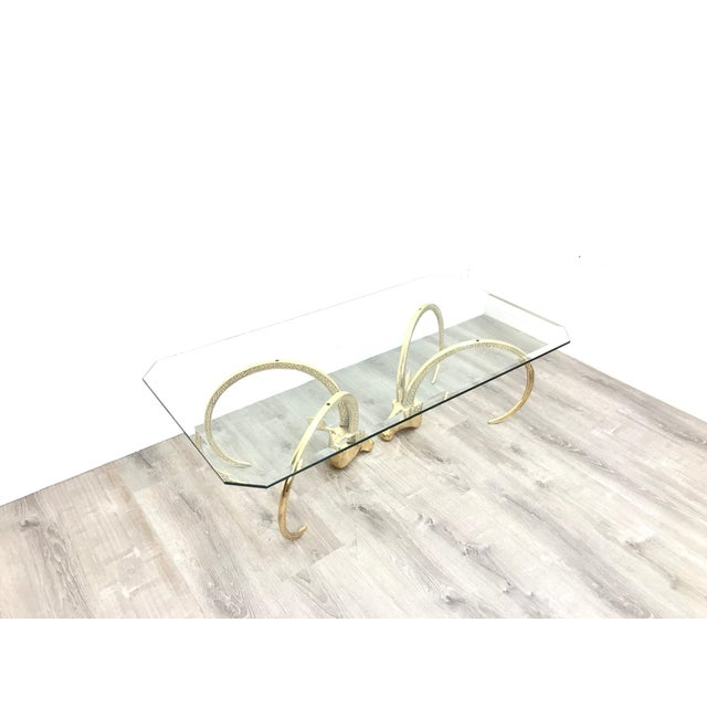 Polished Brass Ibex Ram's Head Glass Top Coffee Table For Sale In Los Angeles - Image 6 of 10
