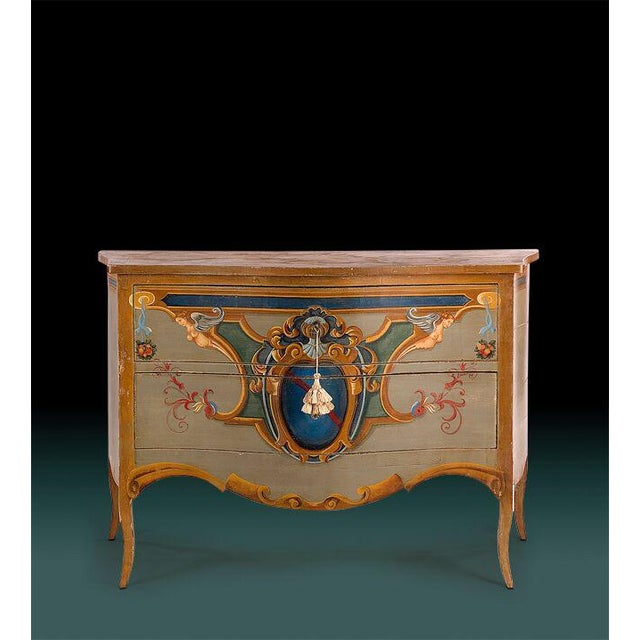 19th Century Italian Leda Hand Painted Commode For Sale - Image 4 of 4