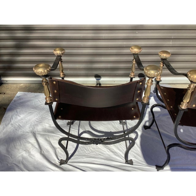 Metal 1960s Italian Savaronola Style Chairs, a Pair For Sale - Image 7 of 12