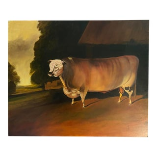 """Late 20th Century """"English Prize Bull"""" Rustic Landscape Oil Painting For Sale"""