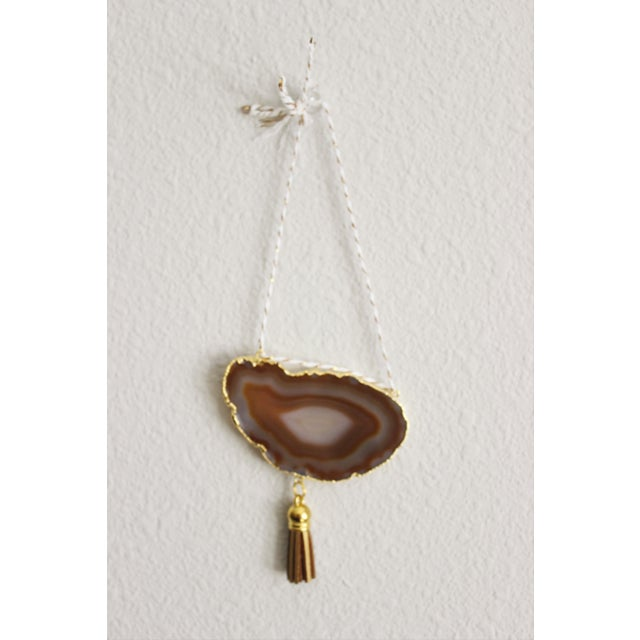 Modern Boho Natural & White Agate Holiday Ornament - Image 3 of 6