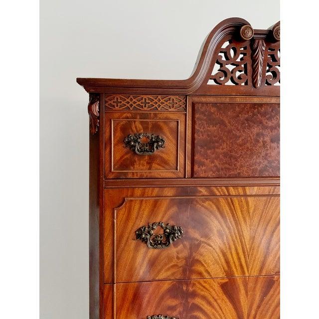 Georgian English Chippendale late 18th century style, Mahogany highboy claw feet dresser. Fabulous Crotch veneer mahogany,...