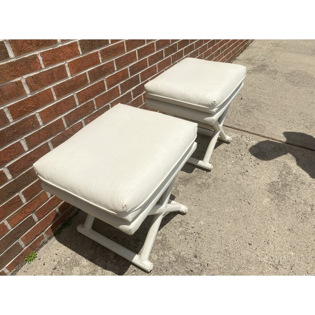 White Leather X Base Benches - a Pair For Sale - Image 11 of 13