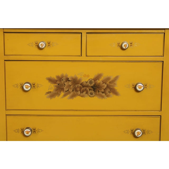 Hitchcock Vintage Yellow Painted Tall Chest of Drawers For Sale - Image 11 of 13