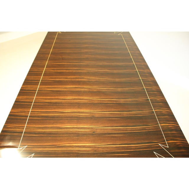 Art Deco 1940s French Art Deco Exotic Macassar Ebony Writing Desk / Dining Table For Sale - Image 3 of 13