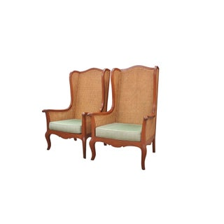 Double Caned Wingback Chairs, a Pair Preview