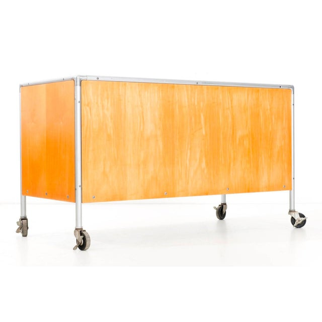 Tan Henry P. Glass Storage Rolling Credenza For Sale - Image 8 of 11