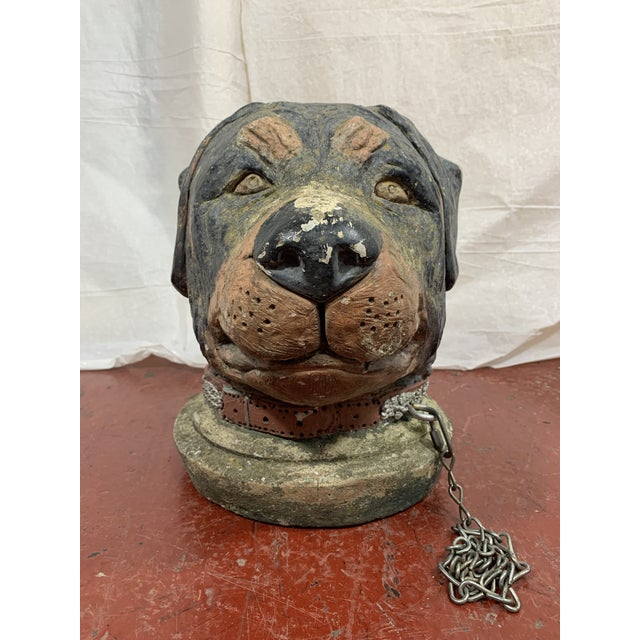 French French Cast Stone Dog Post Finial For Sale - Image 3 of 9