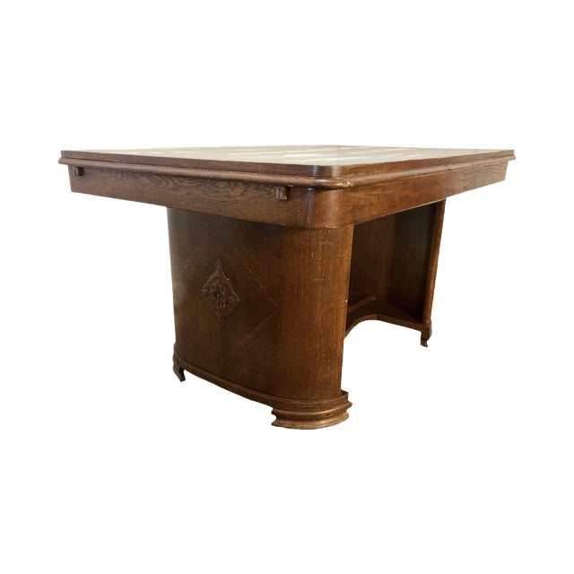 1920s Traditional Solid Oak Captain's Dining/Center Table with Patina For Sale