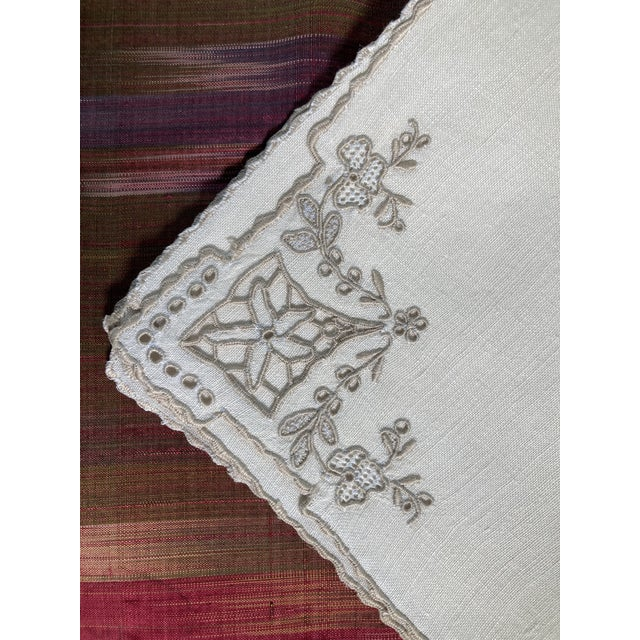 A set of 4 linen hand embroidered Cocktail napkins, starched pressed and ready to serve!