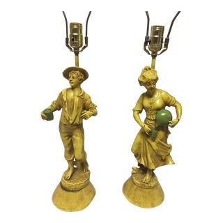 Boy & Girl Yellow Figure Lamps - a Pair For Sale