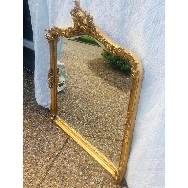 Antique Gold Gilt Wood Frame Beveled Mirror For Sale - Image 4 of 12