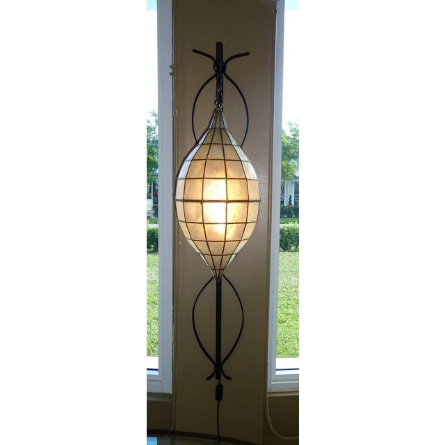 Asian Mid Century Moderm Capiz Shell and Wrough Iron Sconce Wall Light, N1960s For Sale - Image 3 of 13
