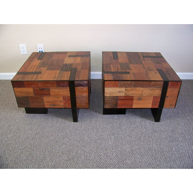 Reclaimed Wood End Tables - A Pair - Image 6 of 6