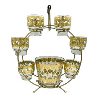Mid-Century Culver Valencia Carousel Cocktail Set - 8 Piece Set For Sale