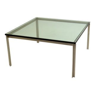 Large Stainless Steel Square Table with Glass For Sale