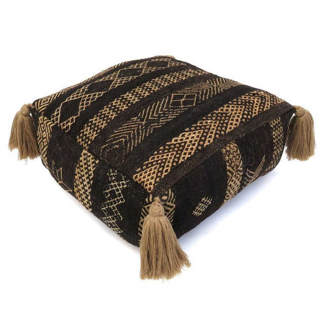 Textile Vintage Black Moroccan Pouf For Sale - Image 7 of 11