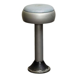 Blue & Silver Vintage Diner Stool For Sale