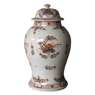 A Boldly-Scaled Continental Polychromed Faience Baluster-Form Covered Ginger Jar For Sale
