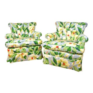 Button Tufted Wallpaper Floral Upholstered Lounge Chairs- A Pair For Sale
