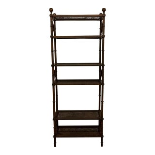 Vintage Caned Wood Etagere Shelves For Sale