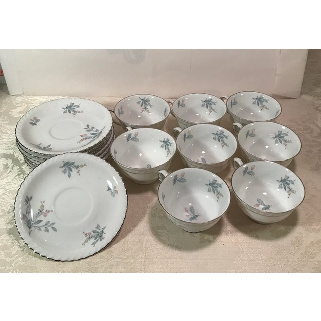 Mid-Century Bavarian China Cups & Saucers For Sale - Image 4 of 11