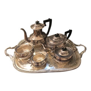Vintage Silver Plated Sheffield Coffee Service With Tray - Set of 6 For Sale