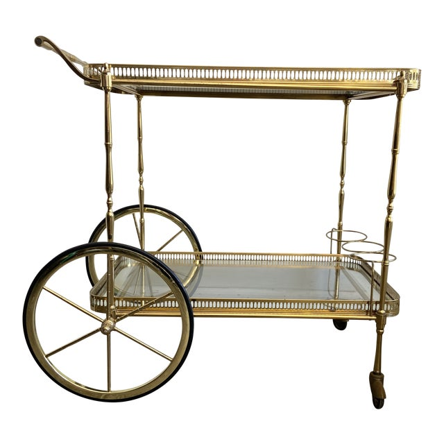 Vintage Brass Bar Cart with Tray For Sale